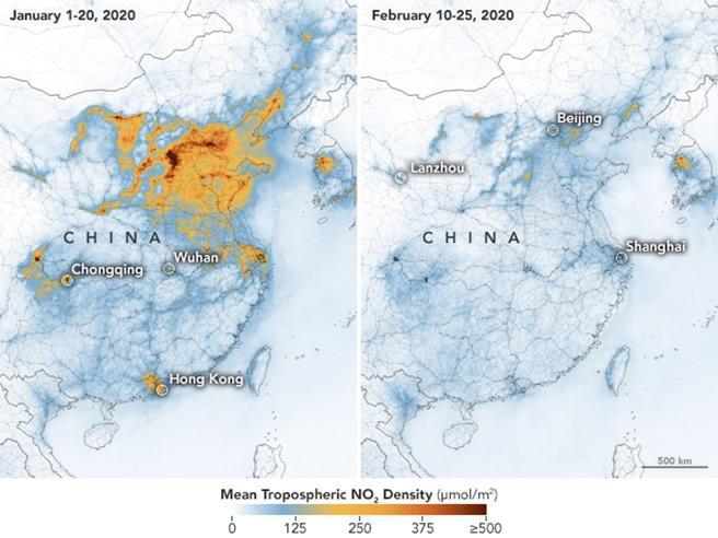 mappa dell'inquinamento in Cina prima e dopo il Coronavirus