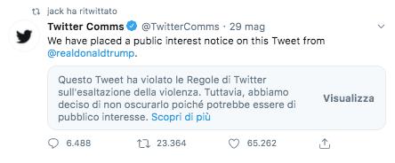Il tweet oscurato di Trump