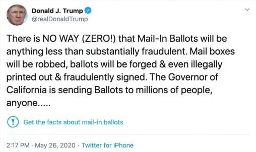 Tweet di trump sulle votazioni per posta