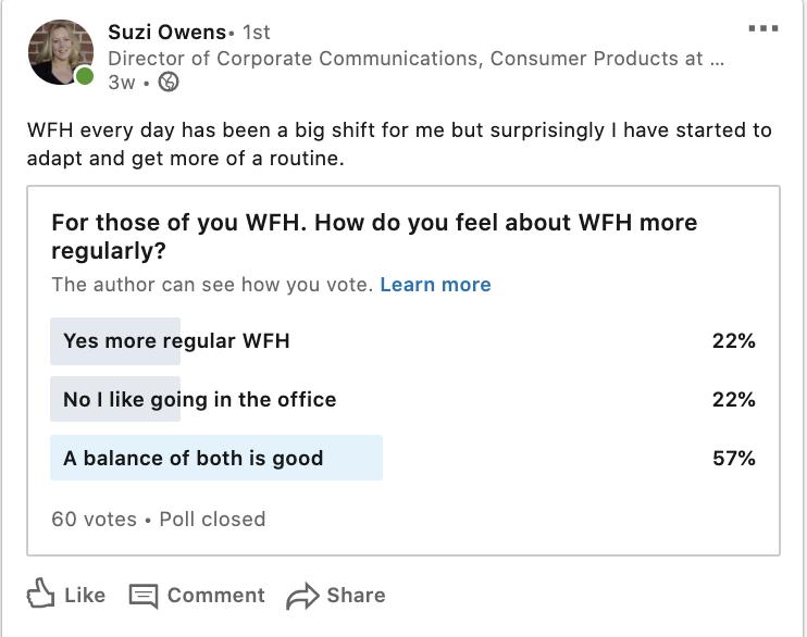 screenshot di un sondaggio LinkedIn