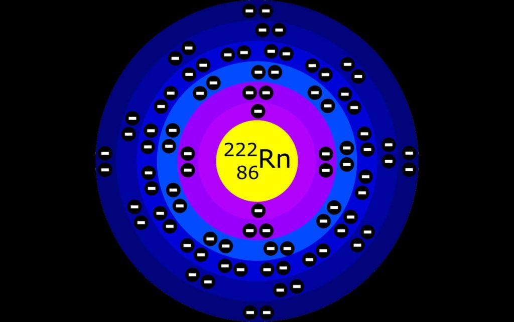 atomo di gas radon