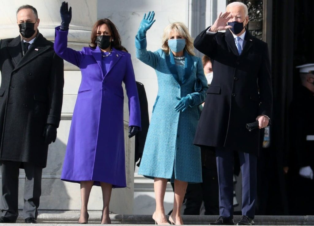 Inauguration Day: First Lady in Alexandra O'Neil, Kamala in Christopher Rogers.