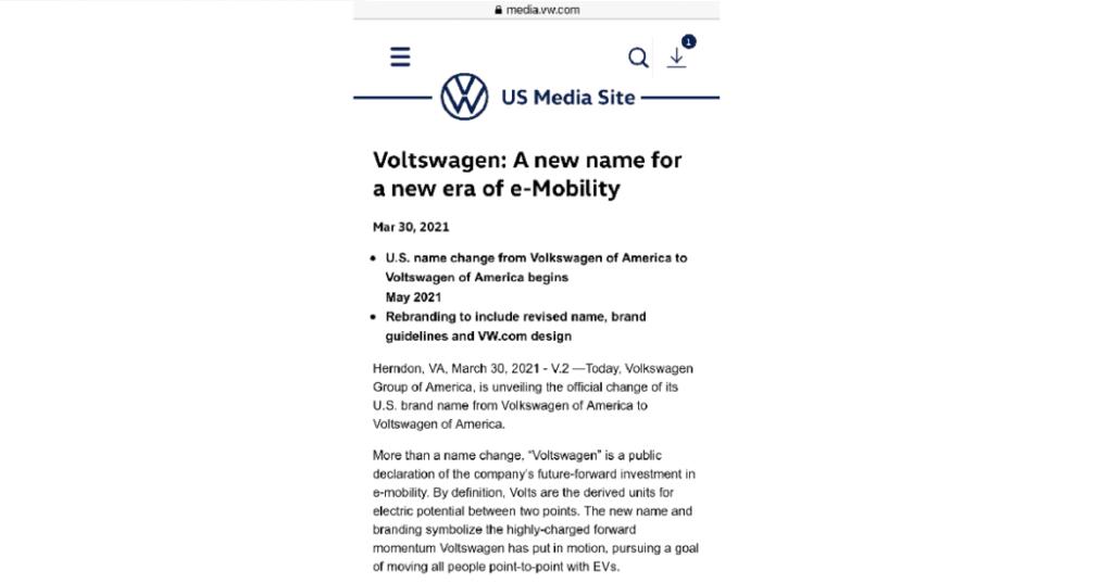 Il pesce d'aprile di Volkswagen.