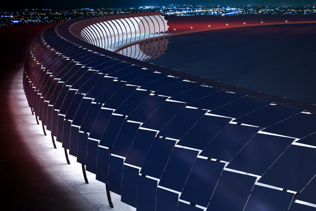 Ciclabile fotovoltaica_Solar Veloroute_notturna